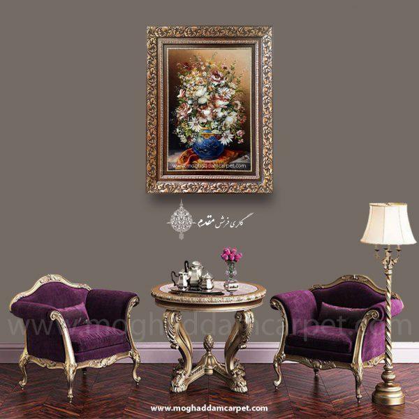 تابلو فرش دستباف گل آنتیک