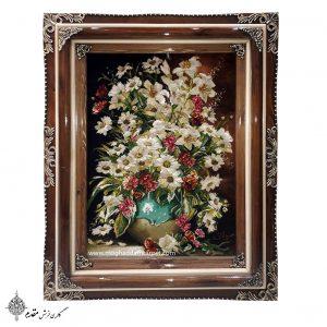 تابلو فرش دستباف گل و گلدان جدید