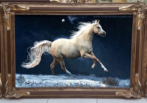 تابلو فرش دستباف نفیس اسب برفی