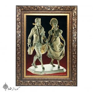 تابلو فرش نفیس دستباف تندیس عروس و داماد