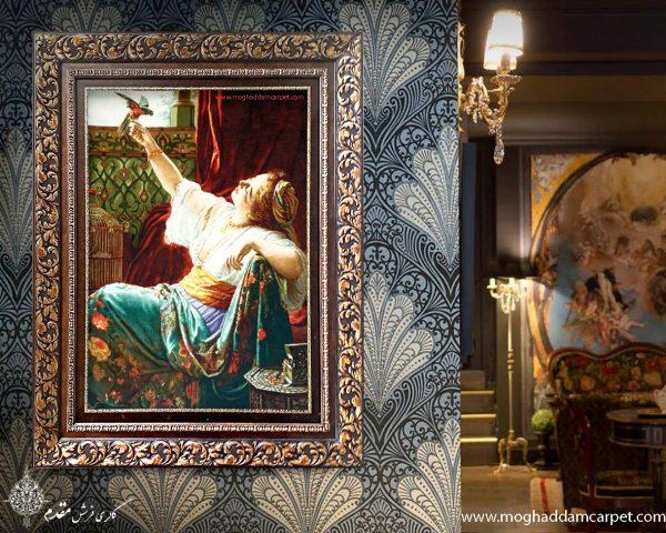 تابلو فرش دستباف نفیس دختر و طوطی