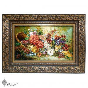 تابلو فرش دستباف نفیس سبد گل هزار رنگ