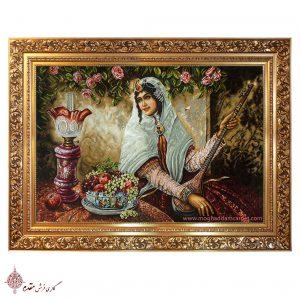 تابلو فرش دستباف نفیس دختر قاجار