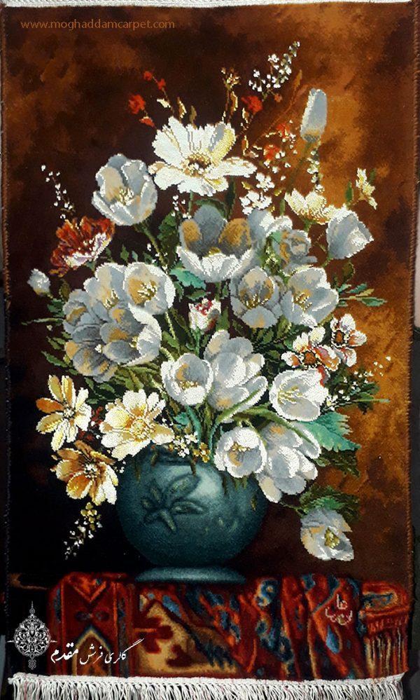 تابلو فرش دستباف نفیس گل لابه زیبا