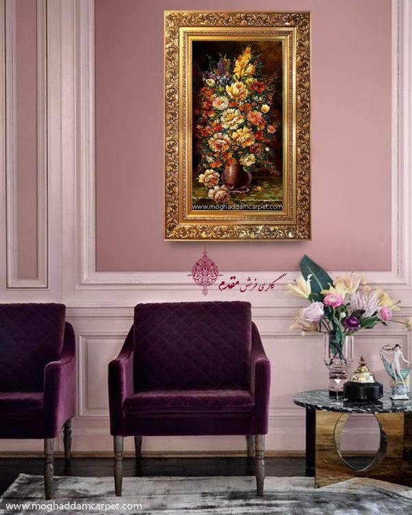 تابلو فرش دستباف نفیس گل و گلدان هزار رنگ