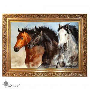 تابلو فرش دستباف سه اسب نفیس