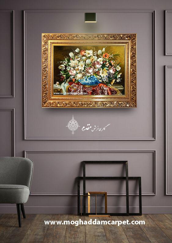 تابلو فرش دستباف نفیس گل و گلدان سنگی
