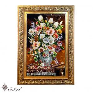تابلو فرش دستباف گل و گلدان رومیزی