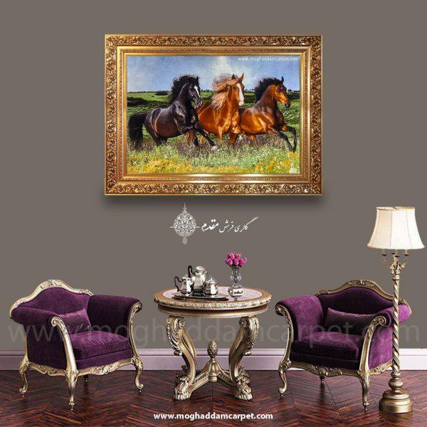 تابلو فرش دستباف نفیس اسب های وحشی