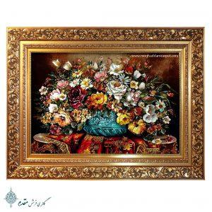 تابلو فرش دستباف گل و گلدان مجلسی زیبا